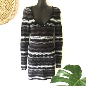 Free People Body Con Scoop V-neck Sweater Dress